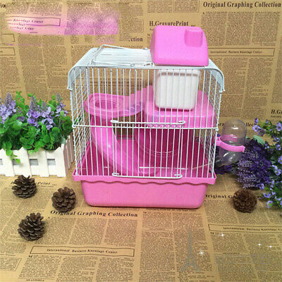 Syrian Dwarf Hamster Gerbil Mouse Rat Rodent Small Pet Cage House Ladder Pink UK