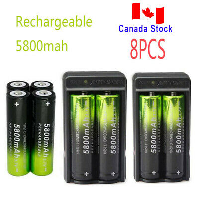 8X 5800mAh 18650 Battery 3.7V Rechargeable Batteries Smart Charger Skywolfeye CA
