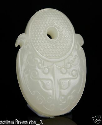 Old Nephrite Hetian White Jade Lucky Ruyi Caring Pendant Chinese Antique #596