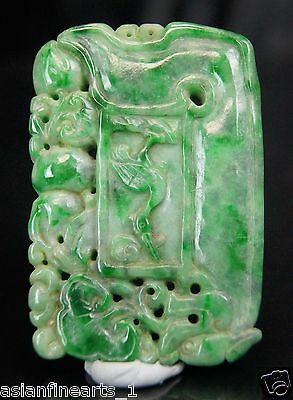 Old Chinese Antique Natural Green Jade Jadeite Ruyi Carving Pendant Necklace 735