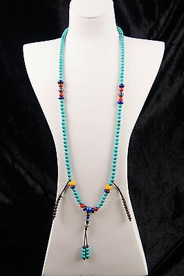 Old Turquoise Amber Lapis Lazuli Beads Long Necklace Chinese Antique Jewelry 903