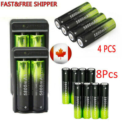 Rechargeable 18650 Li-ion 3.7V 5800mAh Battery Charger Flashlight lithium Cell -