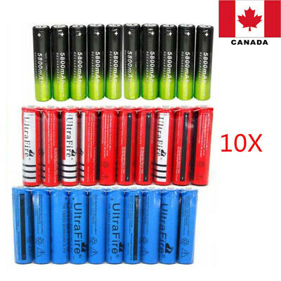 10* 3.7V 5800/6000mAh 18650 Rechargeable Battery Charger Led Flashlight Torch CA