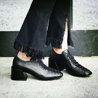 Fashion Women Lace up Block Heels Leather OL Shoes Ladies Square Toe Shoes