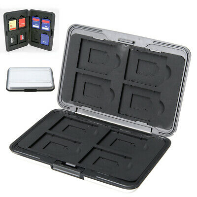 Aluminum Memory Card Storage Box Carry Case Holder For 8 Micro SD SDXC SDHC