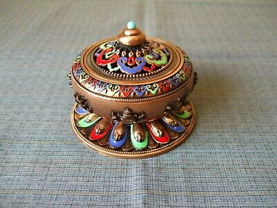 A Beautiful Chinese Cloisonne Enamel Censer With Original Cover
