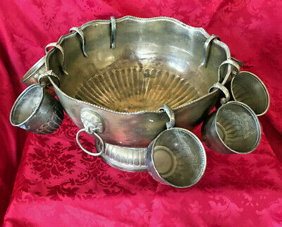 Silver Plate/ Brass Large Punch Bowl- Lion Head Handles And 8 Cups