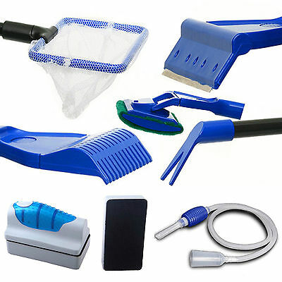 Fish Tank Aquarium Cleaning Kits Glass Brush Fishnet Siphon Pump Magnetic Tools