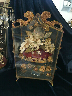 Exquisite French Antique Wedding Stand In Armoire Shaped Glass Case Very Rare