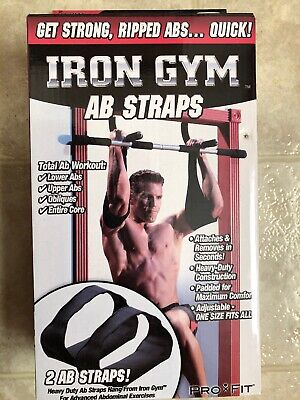 Iron Gym 2 Ab Straps Pro Fit Abdominal Core Body Exercise Padded Fitness Workout