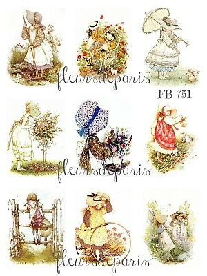 ~ Vintage Cute Holly Hobbie Gardening Friends 9 Small Prints on Fabric FB 751 ~