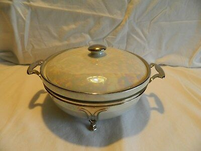 Fraunfelter China Royal Rochester White Pearl Casserole With Footed Metal Stand