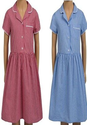 Girls School Dress Med Lace Trim Collared Gingham Check Summer Uniform 4-12years