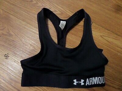 bnwt-Under Armour Heatgear FITTED Sports Bra Girls Youth xs-yxs-black