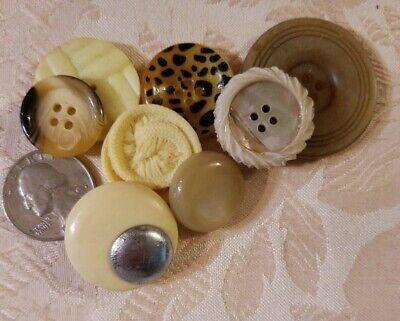 Lot of Vintage Antique Buttons Bakelite Celluloid Ivory To Brown 8 Pc