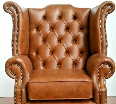 Chesterfield High back Queen Anne Chair wing back Armchair in Distressed Tan