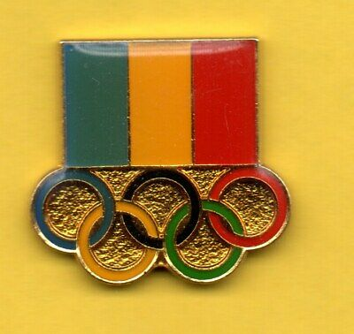 Pin's Lapel pin pins JEUX Olympic games FLAG DRAPEAU ANNEAUX RINGS CHAD TCHAD
