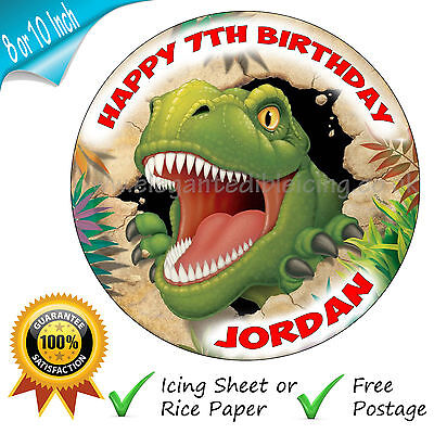Jurassic Dinosaur Birthday Cake Topper Personalised Round Printed Decoration