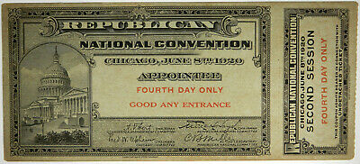 1920 Republican Convention - Chicago - Appointee - U.s. Capitol - W/Stub!