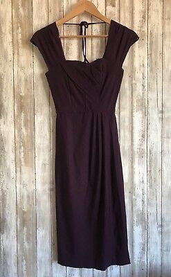 STOP STARING Purple Plum Pinup Wiggle Wrap Bodycon Dress S Small SLIMMING SEXY
