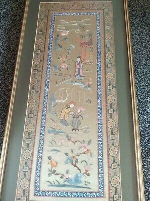 long vintage Chinese silk embroidery picture