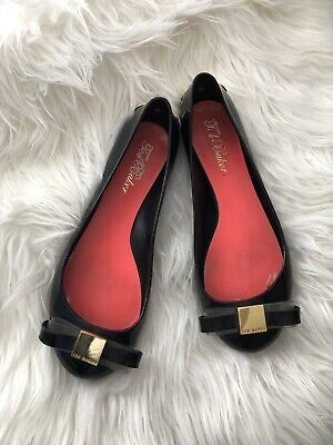 b1b18aedcc TED BAKER BLACK Copper Bow Jelly Flats Womens Size 8.5 39 EU MSRP ...