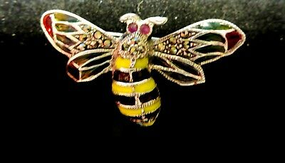 STERLING SILVER STAINED glass black and yellow enamel Ruby Bumble Bee Bug  Brooch