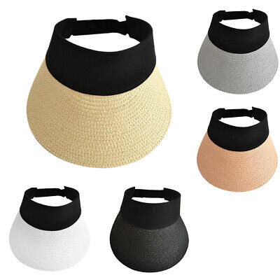 Summer Women's Lady Wide Brim Sun Beach Hat Foldable Roll Up Straw Visor Hat Cap