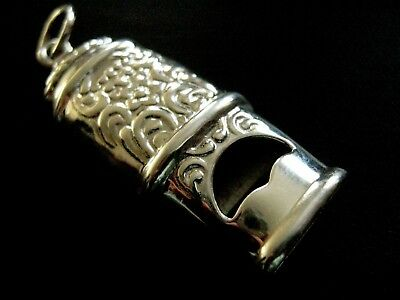 Sterling Silver Victorian style Ornate Working Cabby Whistle Fob Charm Pendant
