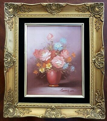 Robert Cox Signed Original Oil Painting - 15 x 13 Framed, Flowers / Floral