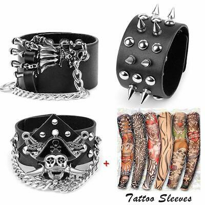 Yariew 3 Pcs Spike Studded Rivet Punk Rock Biker Wide Strap Leather Bracelet ...
