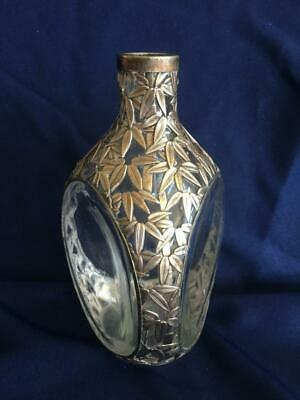 Antique Japanese? Bamboo 950 Silver Overlay Pinched Decanter Vase EUC