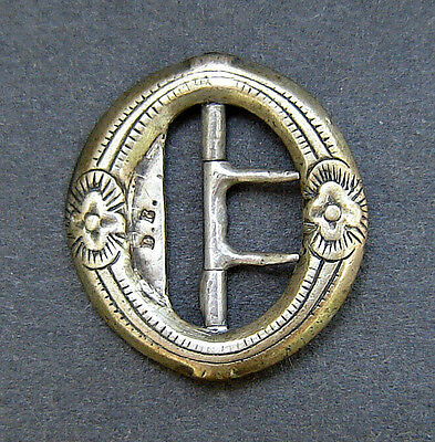 19th CENTURY antique HANDMADE chased SILVER belt or most likely a shoe BUCKLE
