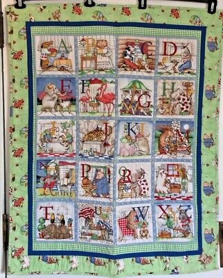 "HAND-QUILTED Hungry Animal Alphabet ABC Quilt crib or wall size 33"" x 40"""