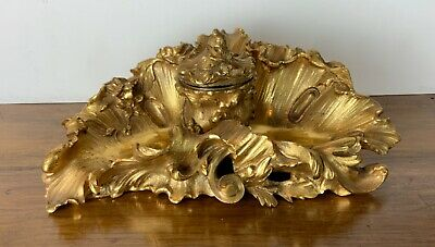 French 19th century inkwell gilt bronze fabulous unique and beautiful