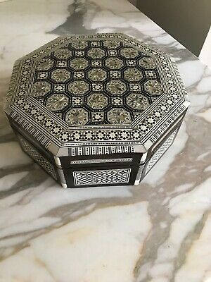 Wood Hinged Octagon Mother of Pearl Inlay Box Red Velvet Interior