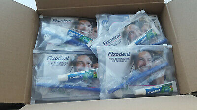 19 x Fixodent Travel Pack Size - Oral B Brush,10g Tube, Guide Book, Zip Bag