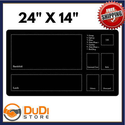 "MTG Magic the Gathering 24""x14"" 2mm Playmat with Zones Layout Board cards"