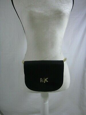 d472c54c5dc0 Michael Kors Womens MK Turnlock Chain Fanny BELT BAG Black/Gold L/XL -
