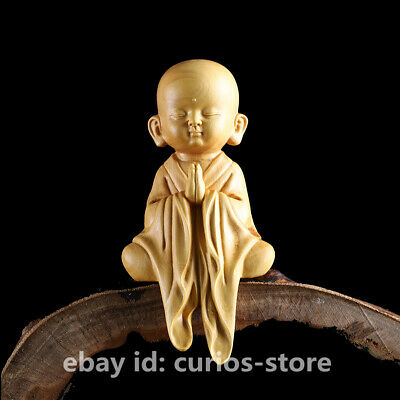 "5"" Chinese Box-wood Hand-carved Buddhism Likable Small Monk XiaoShami Sit Statue"