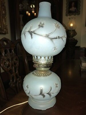 ANTIQUE 1940's PALE BLUE GLASS GLOBE SHADES BOUDOIR TABLE LAMP