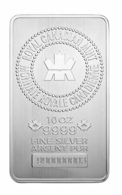 10oz Royal Canadian Mint 999 Pure Silver Bullion Bar