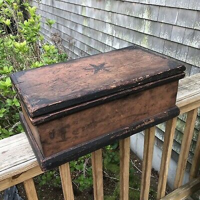 Antique C. 1876 Primitive Rustic Wooden Box With Lid