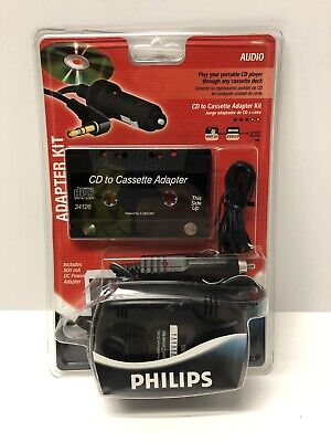 New Philips CD to Cassette Adapter Kit  800mA DC Power Adapter