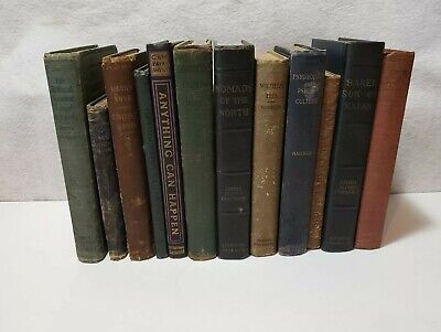 mixed LOT of 12 ~ vintage old  antique hardcover BOOKS ~ mixed colors decoration