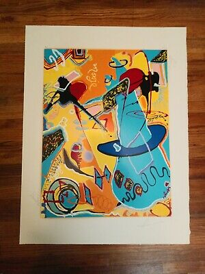 Signed Vintage Colorful Latin American Art Print. Artist Proof