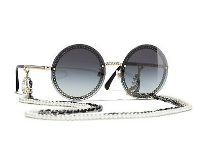 095ac4be9264 CHANEL 4245 Oval Gold Frame Gray Lens with Pearl Chain Sunglasses %100  Authentic