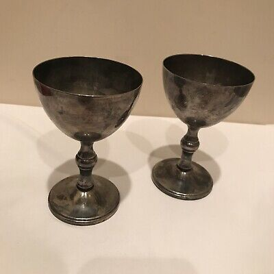 Vintage Lot Of 2 W&S Blackinton Silver Plated Goblets Cups Wine Glasses