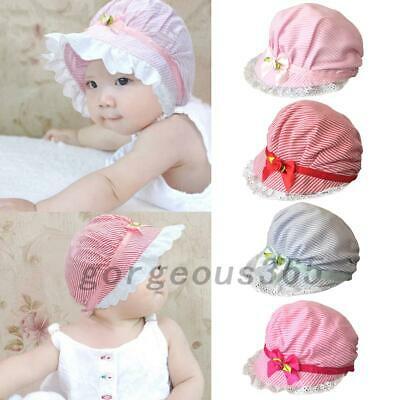 Cute Baby Girls Flower Striped Lace Cotton Hat Cap Bonnet 3-24 Months
