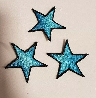 3 Sterne blau  Rockabilly Tattoo Aufnäher Punk Patch Nautic Star old school